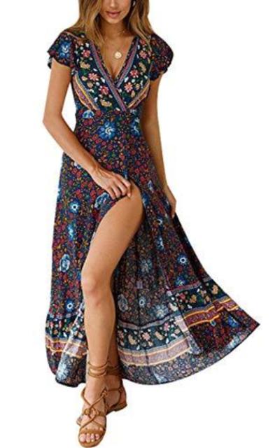 Temofon Bohemian Floral Printed Maxi Dress