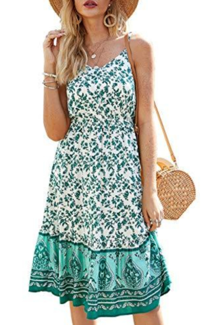 Floral Printed Dress Midi Boho Sundress