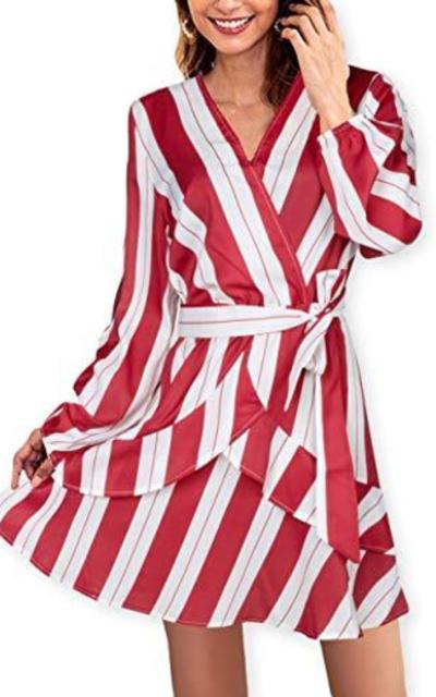AOOKSMERY Stripe Ruffles Wrap Dress