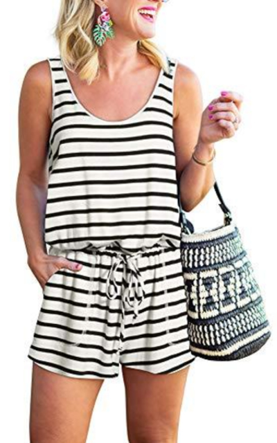 REORIA Striped Rompers