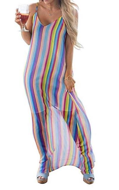 Colorful Striped Maxi Dresses