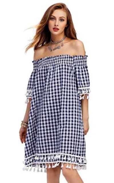 SheIn Off Shoulder Gingham Dress