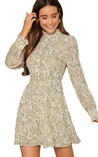 Floerns Snakeskin Print Mock Neck Dress