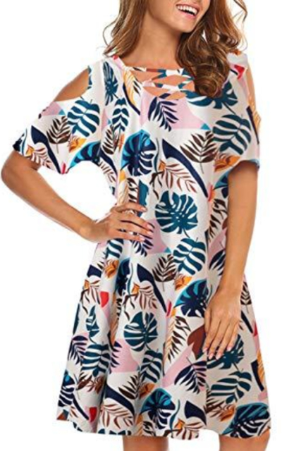 Remidoo Splice Floral Printed Dress