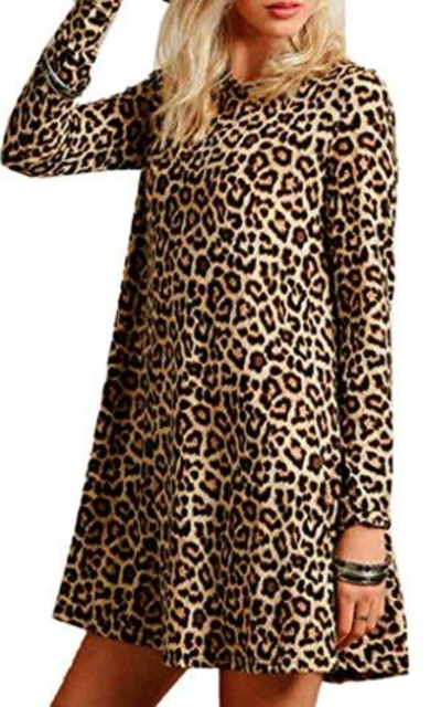 Joeoy Leopard Print Long Sleeve Dress