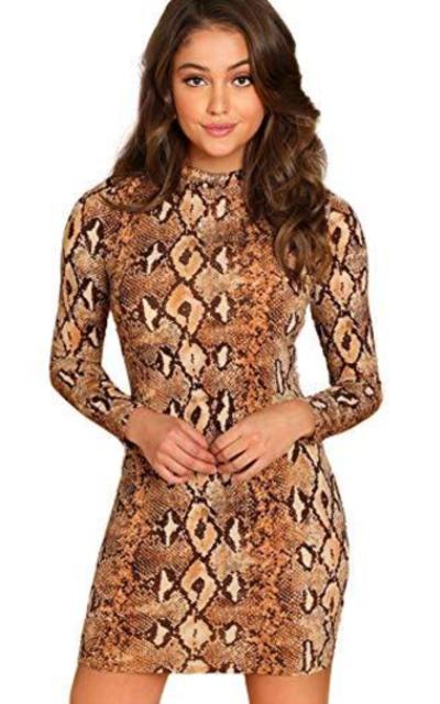 Floerns Long Sleeve Mock Neck Snakeskin Print Dress
