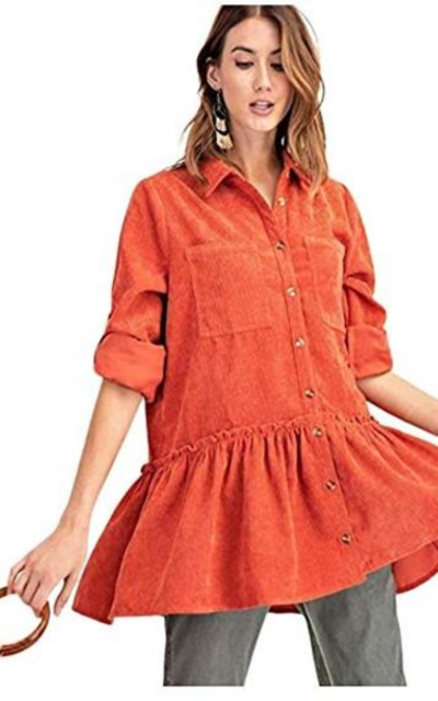 THFB Corduroy Button Down Babydoll Shirt Jacket