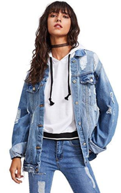 Floerns Ripped Distressed Denim Jacket