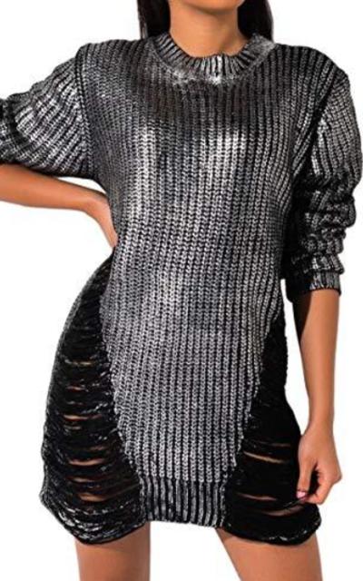 AKIRA  Metallic Distressed Sweater