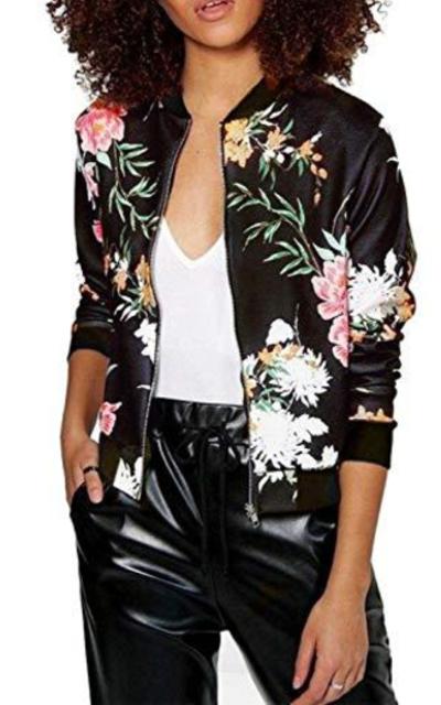 Lightweight Floral Bomber Jacket
