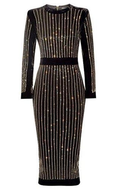 whoinshop High Neck Rhinestone Midi Dress