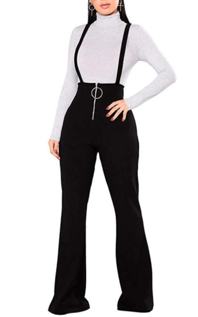 Remelon High Waisted Zipper Suspender Jumpsuit Overalls