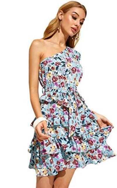 Romwe One Shoulder Layered Ruffle Short Dress