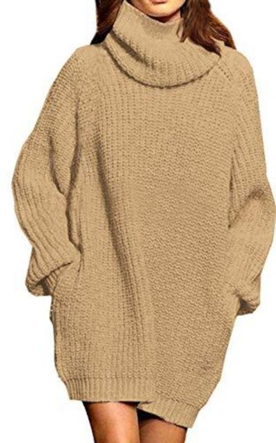Pink Queen Loose Turtleneck Oversize Sweater Dress