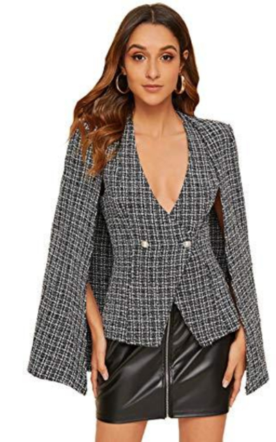 Milumia Tweed Cape Blazer Jacket