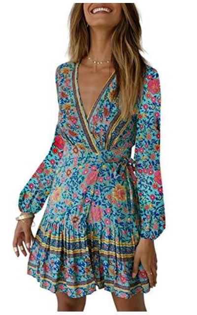 ZESICA Bohemian Floral Print Ruffle Swing Mini Dress