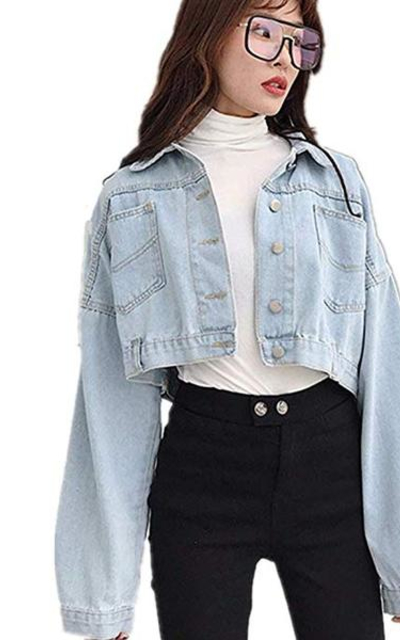 Washed Cropped Vintage Jean Denim Jacket