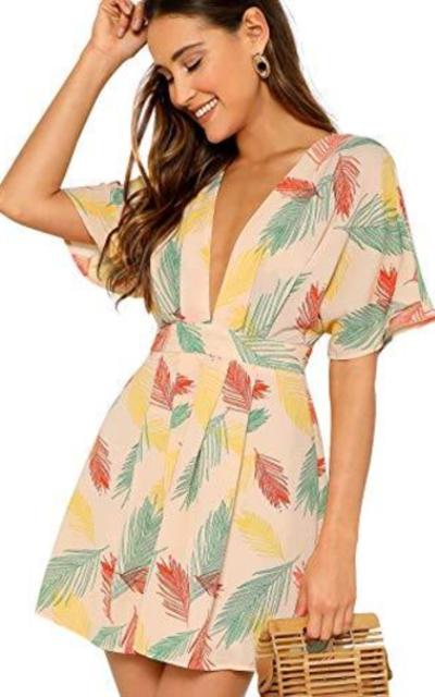 Floerns Deep V Neck Short Dress