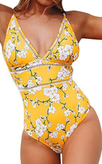 CUPSHE Pear Blossom Print Cutout One Piece Swimsuit