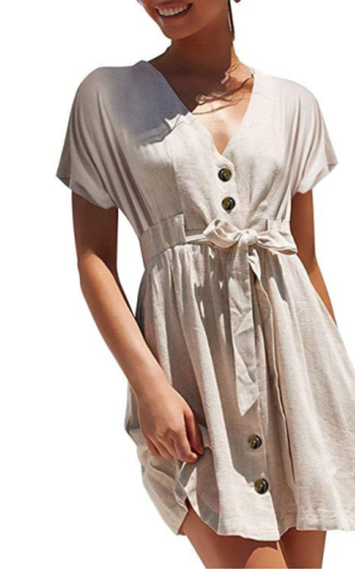 Simplee Button Down Mini Dress with Tie Belt