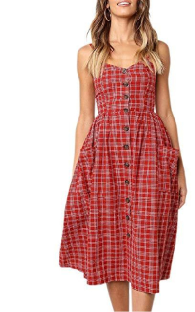 Imysty Button Down Striped Swing Dress