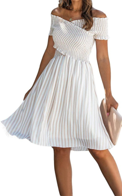 Minipeach  Bohemian Smocked Off Shoulder Dress