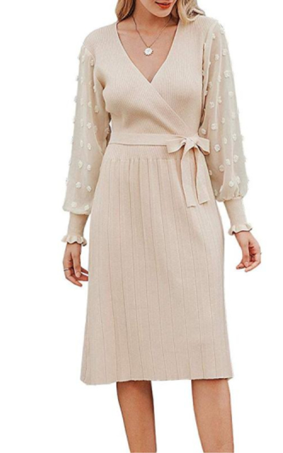 Miessial Pleated Knitted Midi Dress with Belt