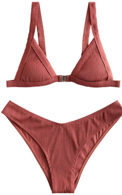 ZAFUL  Textured Ribbed Front Closure High Cut Bikini Set