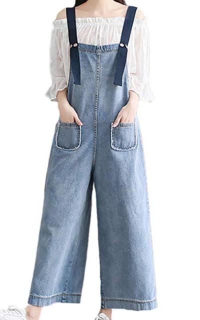 Oversized Wide Leg Denim Overalls
