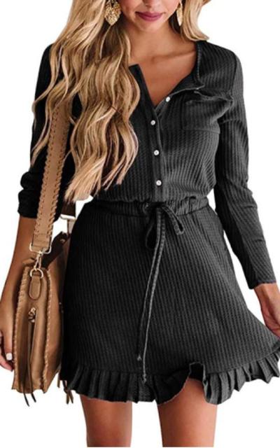 ETCYY Long Sleeve Waffle Dress