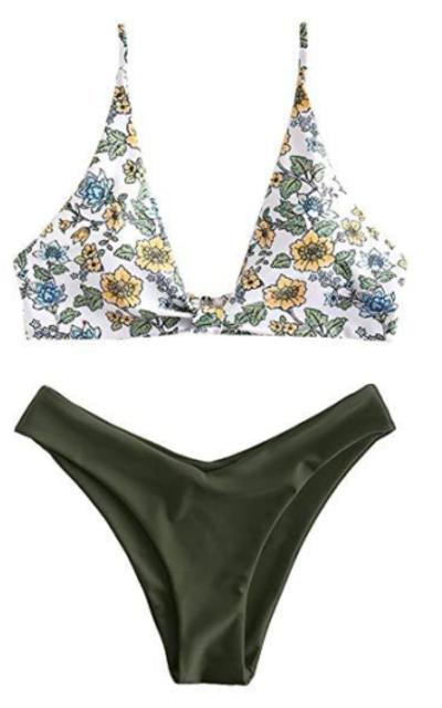 ZAFUL Floral Plunging Bikini
