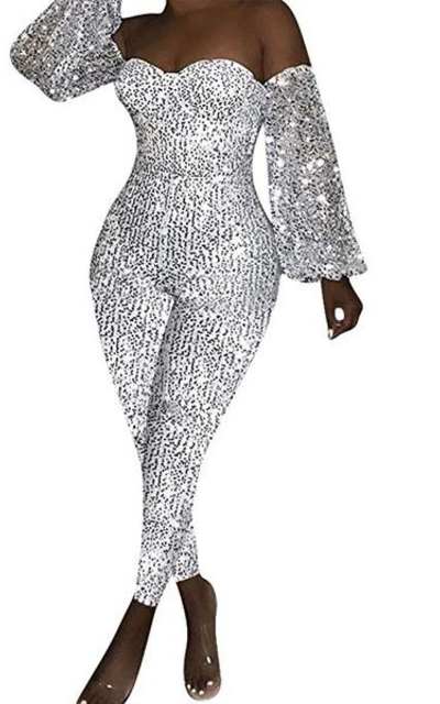Nhicdns Sequin Pearl Bodycon Jumpsuit