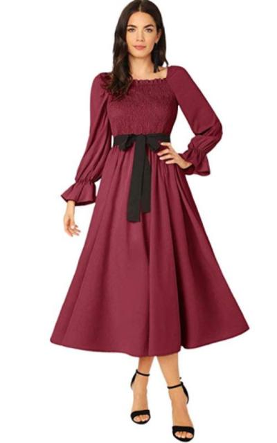 Verdusa Shirred Belted Long Dress