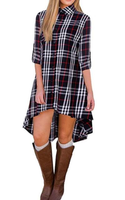 BIUBIU Roll Sleeve Plaid Button up High Low Dress