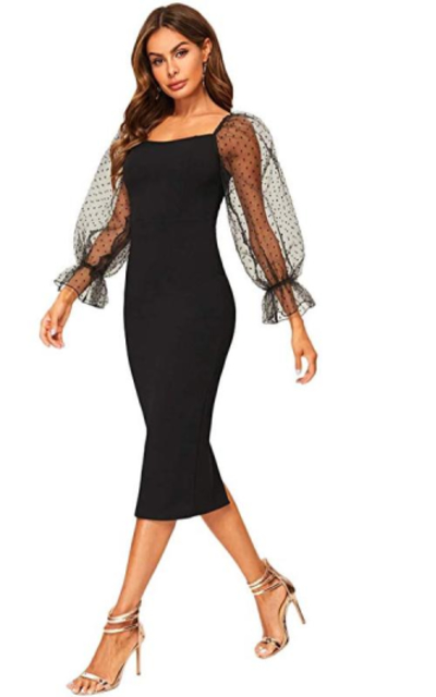 SheIn Mesh Puff Sleeve Bodycon Pencil Dress