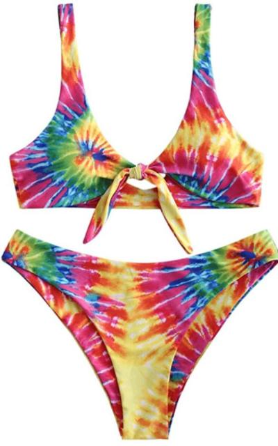 ZAFUL  Tie Dye Front Tie Bikini Set