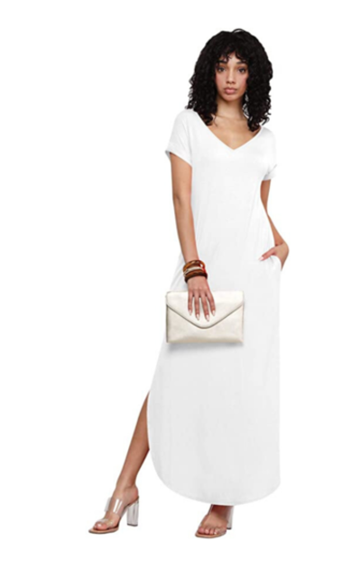 MBJ Short Sleeve Split Maxi Dress