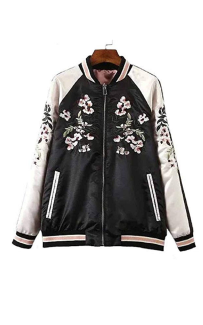 Viport Floral Phoenix Embroidered Reversible Bomber Jacket