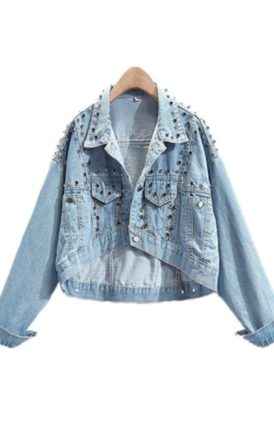 Smile-YZ  Rivet Crop Jean Jacket