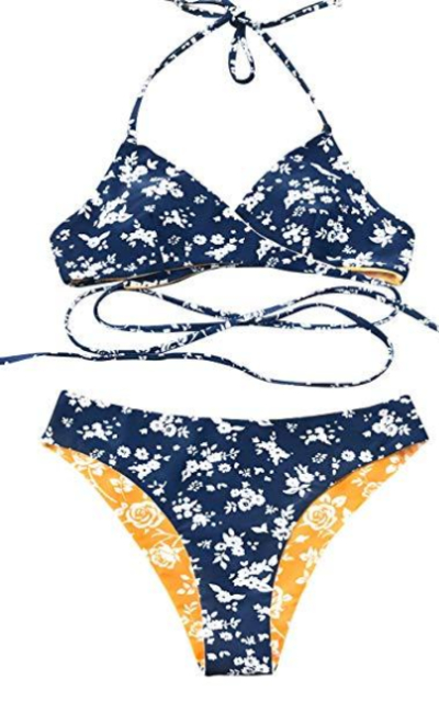 CUPSHE Fresh Leaves Printing Cross Padding Bikini Set
