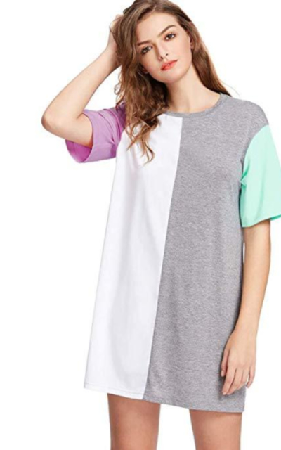 Romwe Color Block Short Dress