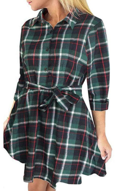 FANCYINN Plaid Pattern Tunic Dress