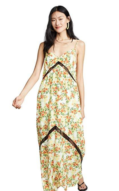 WAYF Baldwin Lace Trim Slip Dress