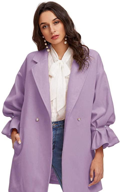 Milumia Drop Shoulder Pearl Ruffle Coat