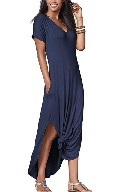 iGENJUN Casual Maxi Dress with Pockets
