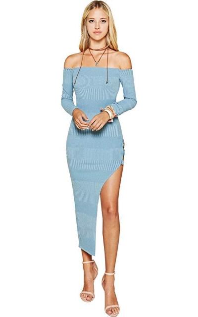 Trend Director Off Shoulder Ribbed Knit Maxi Dress