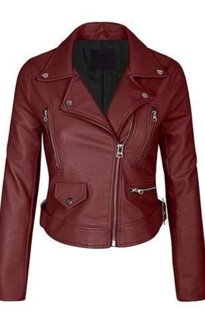 Kogmo Faux Leather Zip Up Jacket