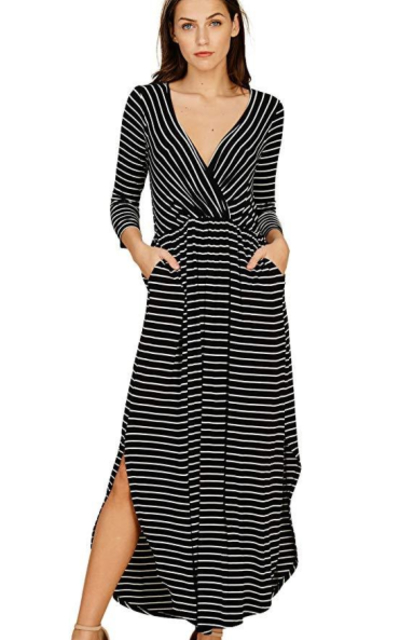 Annabelle 3/4 Sleeve Maxi Dresses with Pockets
