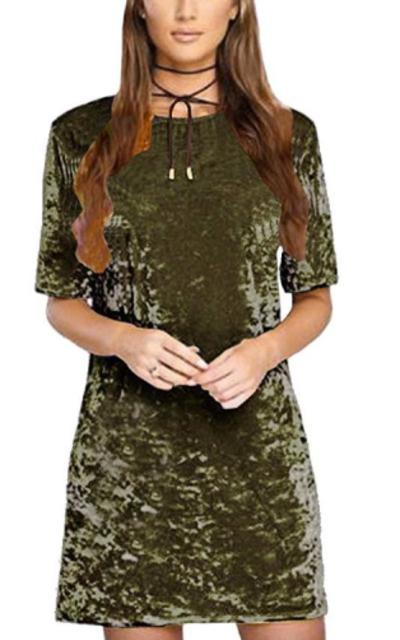 R.Vivimos Crushed Velvet Mini Short Dresses