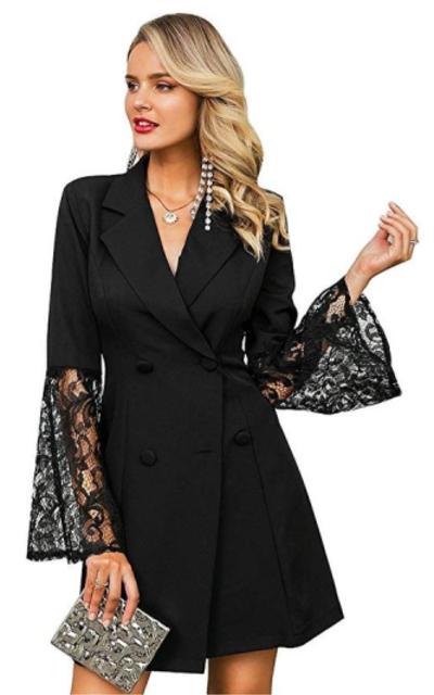 Glamaker Lace Flare Sleeve OL Blazer Dress
